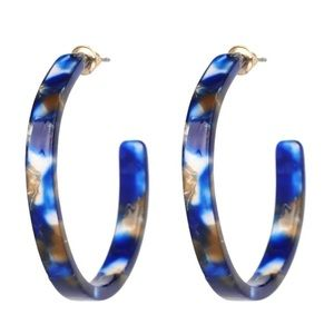 Blue Acrylic Hoop Earrings